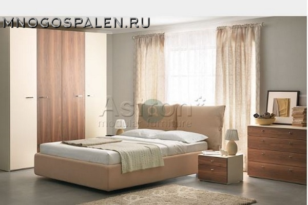 Бежевая глянцевая спальня I002 Astron купить в салоне-студии мебели Барселона mnogospalen.ru много спален мебель Италии классические современные